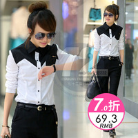 Free shipping Xw96502 2013 women's autumn patchwork long-sleeve shirt