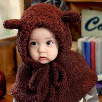 rabbit children shawls modelling conjoined sleeve cap wholesale baby warm winter bonnet