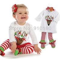 Free shipping 5 sets/lot 2014 new Baby girls Christmas Suits Santa Baby top shirt+striped pants clothing set 2pcs set