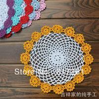 Free shipping ZAKKA design 12 pic/lot 21cm color sun flowers lace doilies 100% cotton cutout crochet pad mat coasters for table