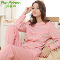 Sleepwear female 100% long-sleeve cotton spring and autumn lounge set dot full cotton at home clothing