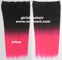 Free shipping-new women girls beatifull 2 tone color straight  5 clip ambre in hair extension for full head,60cm,130g,1pc