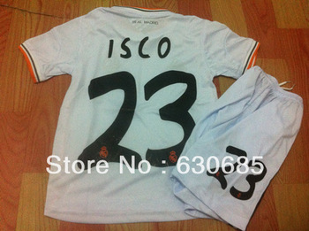 Customize 13/14 real madrid home white thai quality kids soccer football jersey+shorts kits, 23# ISCO soccer Uniforms,size:16-28