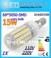 High Bright E14/ E27/G9/GU10/B22 5050SMD LED Corn Bulbs 69LEDs 15W LED Spotlight bulb Pure/Warm/Cool White AC 110V/220V