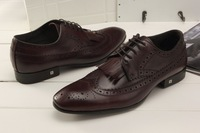 2013 Men Brand Italy Fashion Shoes US5-10  Top Leather Lace Up Brogue Shoes formal mens dress business shoes