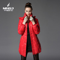 FREE SHIPPING Women's new arrival medium-long slim down coat 18156