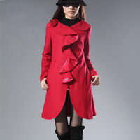 2013 autumn and winter fashion elegant ruffle slim woolen overcoat outerwear trench plus size