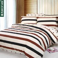 Mo fan home textile 100% slanting cotton stripe print four piece set bed sheets piece set