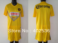 Embroider brand logo !13/14 new style best quality original Club america home yellow soccer uniform ,football kit