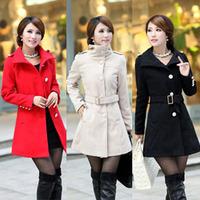 2014 autumn/winter women slim woolen outerwear long design High Street stylish women Coats with belt