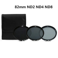 3 pcs 82MM 82 mm Neutral Density ND2 ND4 ND8 Lens Filter Kit Set ND 2 4 8 ND+2+4+8 + Cloth Bag Case For Canon Nikon Sony Camera