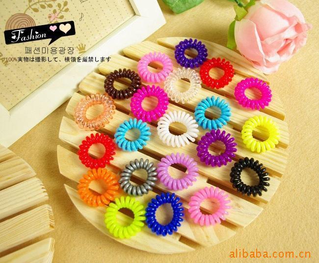 Fshion Colorful Hair band Hari Elastic Rope For Girls Women Spiral line hair circle(China (Mainland))