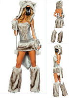 Hot Sexy Cat Woman Furry Wolf Girl Halloween Costume Cosplay Party Silver outfit