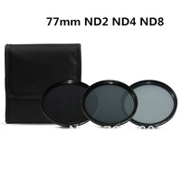 3 pcs 77MM 77 mm Neutral Density ND2 ND4 ND8 Lens Filter Kit Set ND 2 4 8 ND+2+4+8 + Cloth Bag Case For Canon Nikon Sony Camera