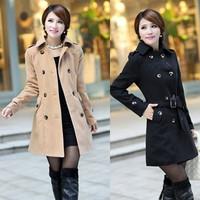 2013 autumn/winter women's woolen trench coat, turn-down collar OL medium-long woolen outerwear,50% wool,black/khaki