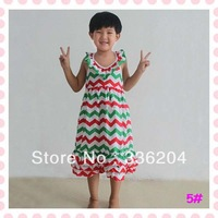 Free Shipping New Arrival! Ava in long maxi dress for girl in XMAS chevron printed