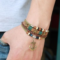 Free shipping Male bracelet leather cord bracelet fashion bracelet male leather bracelet wood bead multi-layer anchor