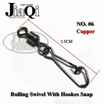 200pcs/lot MS+HS 6# ROLLING SWIVEL WITH HOOKS SNAP fishing lure tackle fishing gear accessories Connector copper swivel