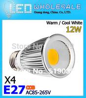 4X Dimmable E27/GU10/E14/MR16 High Power 9W 12W 15W  LED COB SMD LED Spotlight White/Warm White AC 85-265V Free Shipping