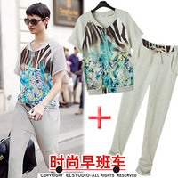 Desinger 2013 spring and  print patchwork zipper sweatshirt short sleeve length pants casual sports set    for women