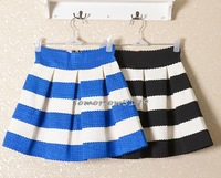 Special selling Fall Fashion Korea Knitting Black and White Horizontal stripes Skirt Tutu Waist Skirts short Skirt