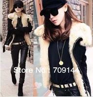Free Shipping New Large Lapel Motorcycle Coat Lamb Wool Fur Collar Warm Jacket  Women Winter Coat M L XL