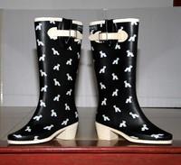 High-leg high-heeled boots fashion rainboots tall boots rain boots