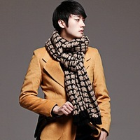 13 Men thermal winter fashion scarf male long design scarf casual black scarf