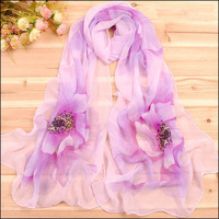 new 2014 chiffon Fashion style flower print chiffon fluid Fashion scarf women beach scarf summer cape 10pieces/lot