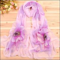 new 2014 chiffon Fashion style flower print chiffon fluid Fashion scarf women beach scarf summer cape 10pieces/lot