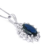 925 silver natural sapphire pendant dark blue
