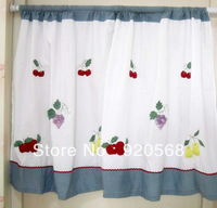 Cotton cloth three-dimensional embroidered fruit small curtain coffee curtain semi-shade dodechedron