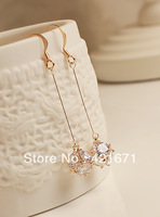 2013 new korean fashion jewelry drop earring gold flower ball Luxurious cubic zirconia for womens earrings