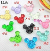 Free Shipping 100 PCS/Lots  Diy Sell like hot cakes on the new flash powder resin mickey head Diy phone beauty material