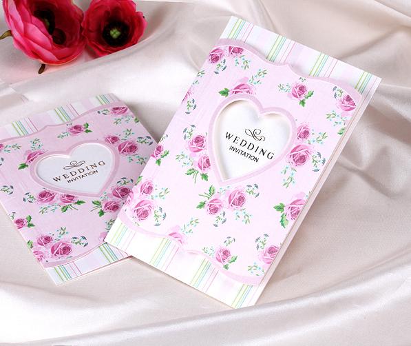 50pcs/set free envelop and free seal Royal Style Tri-fold Wedding Invitation In Pink W9110(China (Mainland))