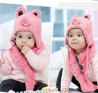 Free Shipping 2013 New Autumn and Winter Baby Ear Protector Cap Child Frog Scarf Rabbit Hat Cartoon Style Hat&Scarf Sets