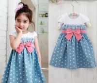 Girls Baby Kids Toddlers 1pcs Cowboy Blue Polka Dot Bowknot Dress Clothes S1 6Y