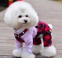 Fashion winter autumn wear western lovely dog clothes Plaid pet overalls Puppy Costume Apparel free shipping 2 colors 5 size