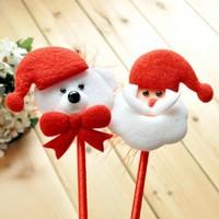 kawaii plush felt Christmas Santa bear ballpoint cheap promotional pens gift creative stationery office school supplies