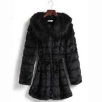 Free shipping 2014 women's faux rabbit fur overcoat medium-long mink hair thickening cardigan fur coat (S--XXL)