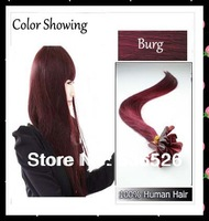 "Free shipping 18"" 20""22""24"" 0.7g/s Keratin nail tip hair/ U tip hair extension  BUR Burgundy color 70gram/pack"