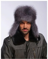 Fox fur Russian bomber trapper Aviator pilot fur hat cap headgear headdress 3 colors wholesale drop shipping