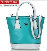 Free shipping Luxury genuine leather handbag Girls / women's color block tote bag Messenger bag Shoulder bag