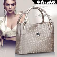 Free shipping Luxury genuine leather handbag Girls / women's stone pattern tote bag Shoulder bag  elegant fashion all-match