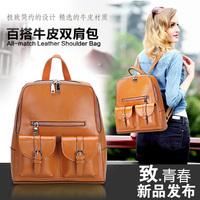 Free shipping Luxury genuine leather backpack Vintage backpack  Student bag Shoulder bag