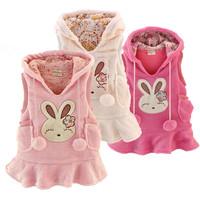 Free shipping 2014  new arrival Hot-selling  rabbit coral fleece children vest girl  dress rabbit vest sales one piece
