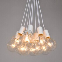 Wholesale Vintage classic bulb e27 lamp base with  line diy lighting lamps light pendant light  line with 10 heads light