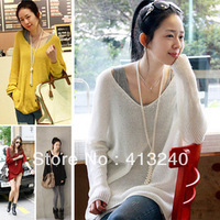Women Ladies Casual Loose Long Sleeve Sexy V neck Knit Tops Sweater Solid Cardigan Jumper Knitwear Outwear Pullover