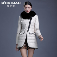 Leather clothing 2013 genuine leather clothing female fox fur design slim short leather jacket outerwear shipping by HDL