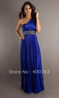 Pretty One Shoulder Beaded Waistline Elastic Satin Long Blue Prom Dress